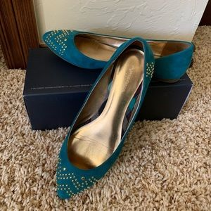Turquoise pointed flats with gold studs